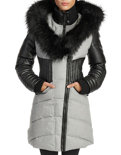 Noize Faux Fur and Quilted Panel Coat-GREY-Large
