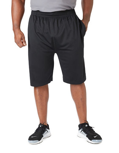 Paul Gray Big and Tall Athleisure Shorts-BLACK-1X Big