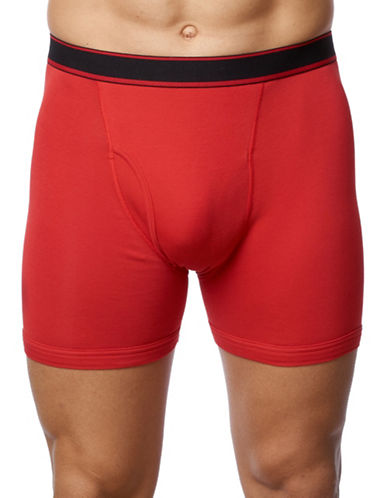Paul Gray Big and Tall Cotton Stretch Boxer Brief-RED-1X Big