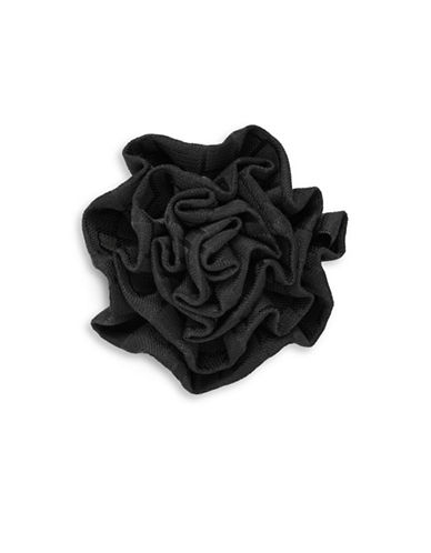 1670 Square Motif Flower Pin-BLACK-One Size