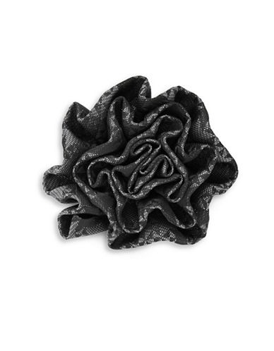 1670 Plaid Flower Pin-GREY-One Size