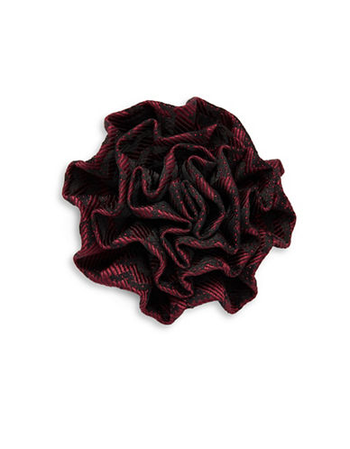 1670 Plaid Flower Pin-BURGUNDY-One Size