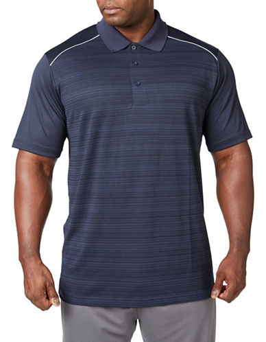 Paul Gray Big and Tall Short Sleeve Striped Performance Golf Polo-BLUE-3T