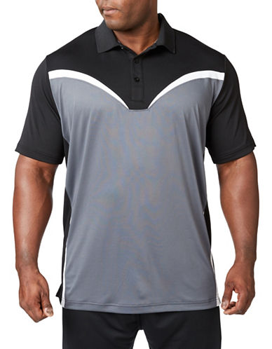 Paul Gray Big and Tall Colourblock Performance Golf Polo-BLACK-3T
