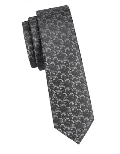 1670 Slim Skull Tie-BLACK-One Size
