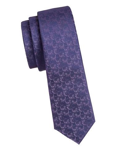 1670 Slim Skull Tie-PURPLE-One Size