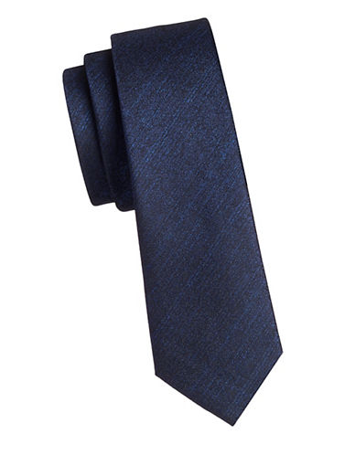 1670 Slim Textured Two-Tone Tie-NAVY-One Size