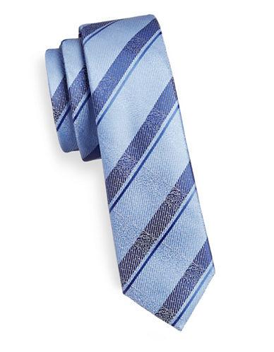 1670 Slim Ribbed Stripe Tie-BLUE-One Size