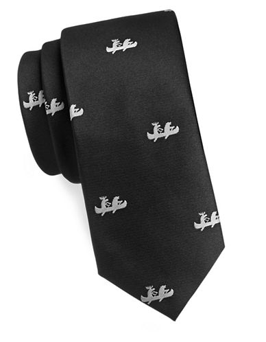 1670 Canoe Silk Tie-BLACK-One Size