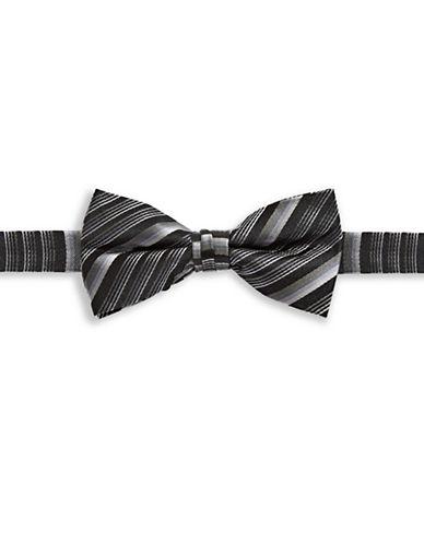 1670 Striped Silk Bow Tie-BLACK-One Size