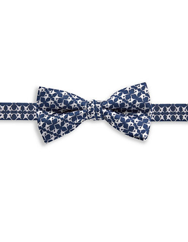 1670 Fish-Print Silk Bow Tie-NAVY-One Size