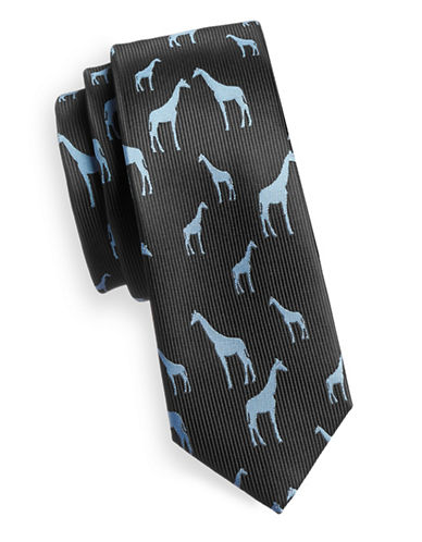 1670 Graphic Giraffe Print Slim Tie-BLUE-One Size