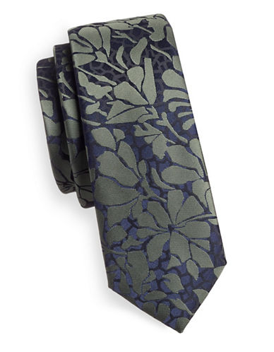 1670 Slim Tonal Floral Tie-GREEN-One Size