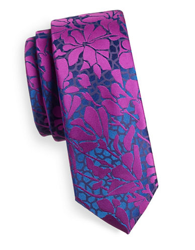 1670 Slim Tonal Floral Tie-PURPLE-One Size