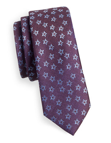1670 Floral Speckle Slim Tie-PURPLE-One Size
