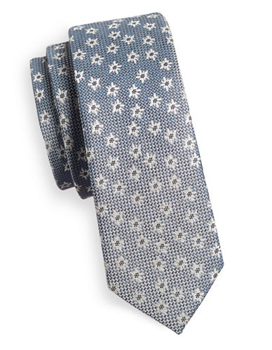 1670 Floral Sheen Slim Tie-GREY-One Size