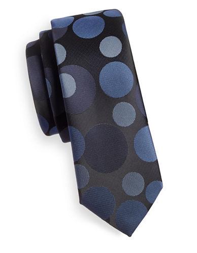 1670 Varied Polka Dot Slim Tie-NAVY-One Size