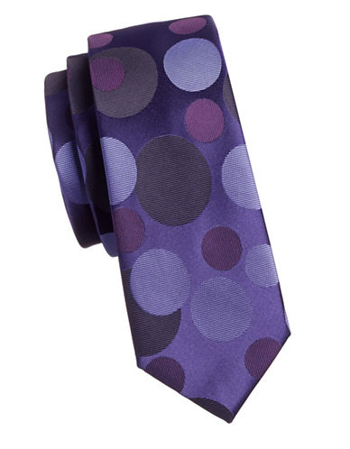 1670 Varied Polka Dot Slim Tie-PURPLE-One Size