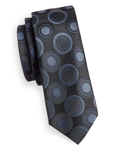 1670 Circular Geometric Print Slim Tie-NAVY-One Size