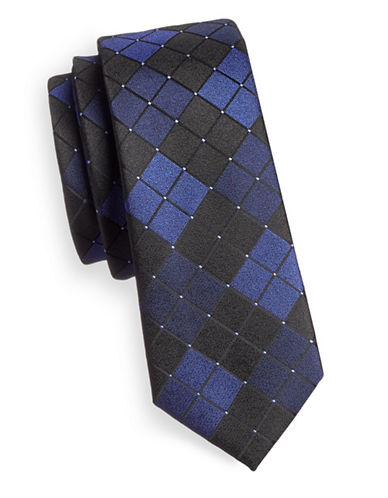 1670 Diamond Print Slim Tie-NAVY-One Size