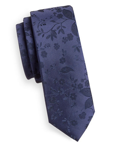 1670 Ornate Floral Slim Tie-NAVY-One Size