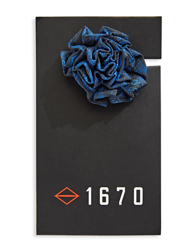 1670 Jacquard Flower Lapel Pin-BLUE-One Size