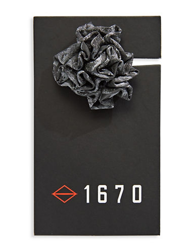 1670 Jacquard Flower Lapel Pin-GREY-One Size