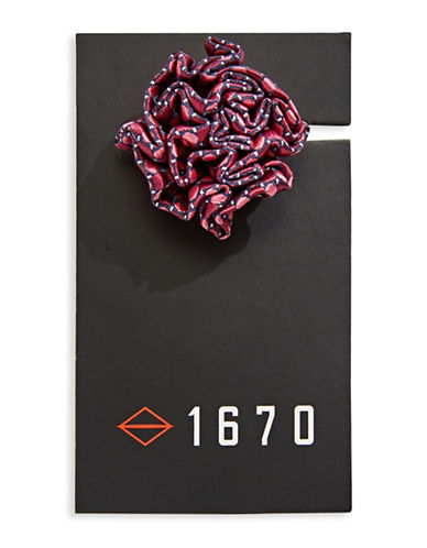 1670 Dotted Flower Lapel Pin-RED-One Size