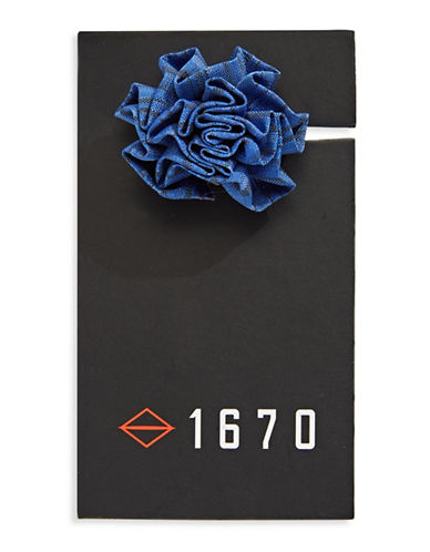 1670 Checked Flower Lapel Pin-BLUE-One Size