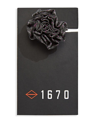 1670 Micro-Dotted Flower Lapel Pin-GREY-One Size