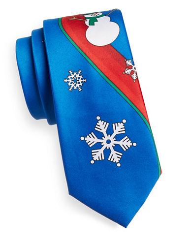 1670 Snowman Print Slim Tie-BLUE-One Size