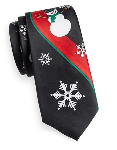 1670 Snowman Print Slim Tie-BLACK-One Size