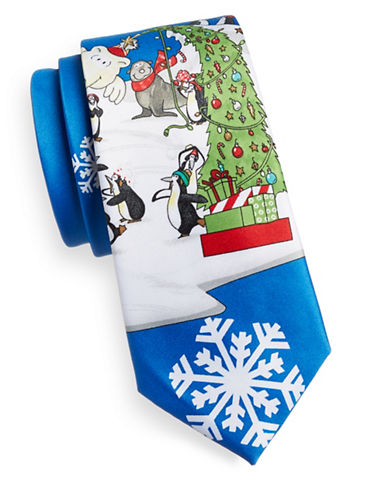 1670 Graphic Print Necktie-BLUE-One Size