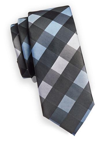 1670 Plaid Slim Tie-BLUE-One Size