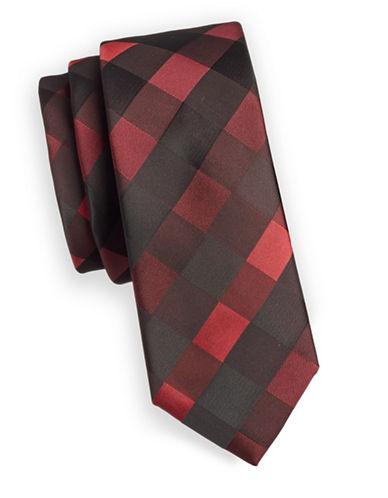 1670 Plaid Slim Tie-RED-One Size