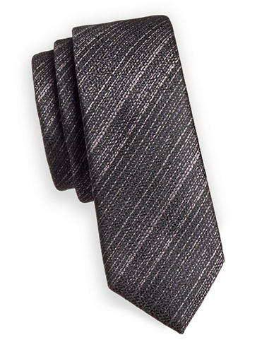 1670 Stripe Slim Tie-BLACK-One Size