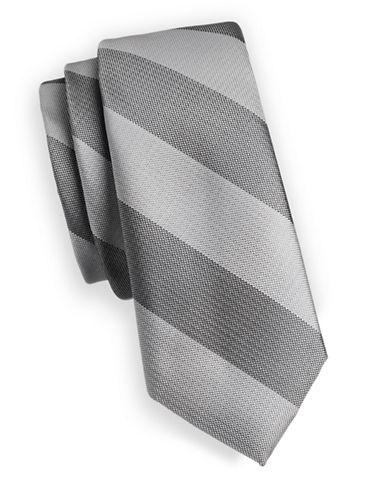 1670 Striped Slim Tie-GREY-One Size