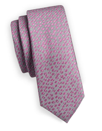 1670 Dots Slim Tie-PINK-One Size