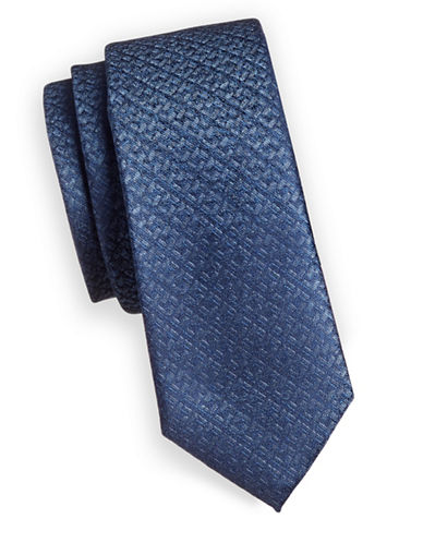 1670 Metallic Plaid Slim Tie-BLUE-One Size