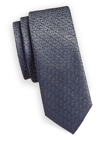 1670 Metallic Plaid Slim Tie-GREY-One Size