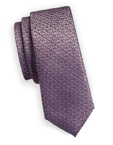 1670 Metallic Plaid Slim Tie-PINK-One Size