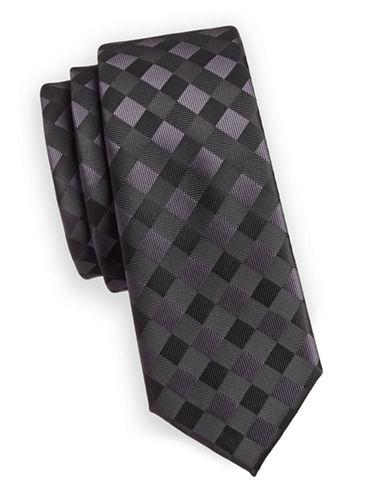 1670 Tartan Slim Tie-BLACK-One Size