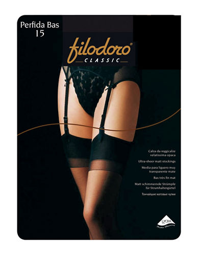 Filodoro Thigh High Sheer 15 Denier Tights-BLACK-3