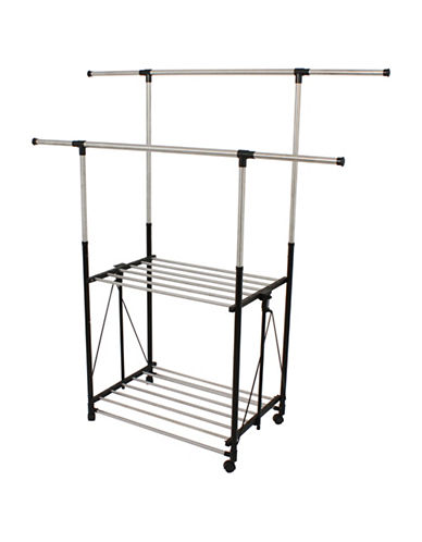 Greenway Home Products Stainless Steel Collapsible Double-Bar Garment Rack-STAINLESS STEEL-One Size