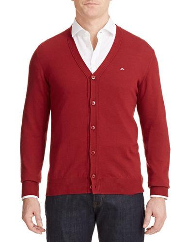 J. Lindeberg Lymac Merino Button Cardigan-RED-X-Large
