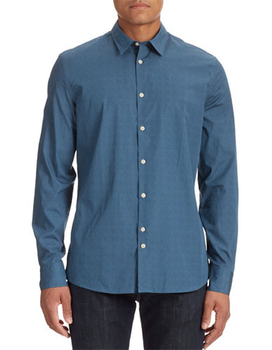 J. Lindeberg Cotton Print Shirt-DENIM BLUE-Small
