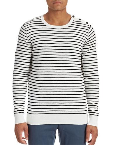 J. Lindeberg Button Shoulder Stripe Sweater-OFF WHITE-X-Large