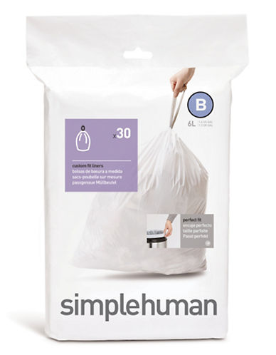 Simplehuman 30 Pack Code B Can Liner-WHITE-30