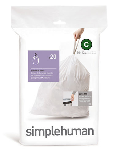 Simplehuman 20 Pack Code C Can Liner-WHITE-20