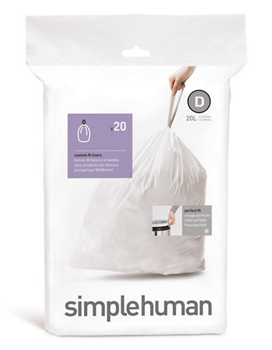 Simplehuman 20 Pack Code D Can Liner-WHITE-20